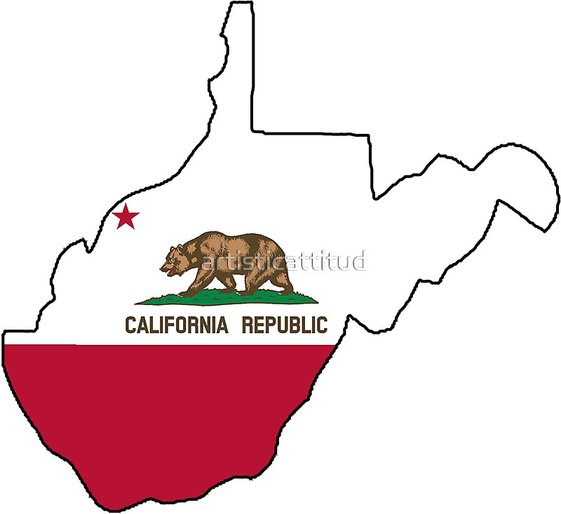 California flag West Virginia outline Stickers by artisticattitud
