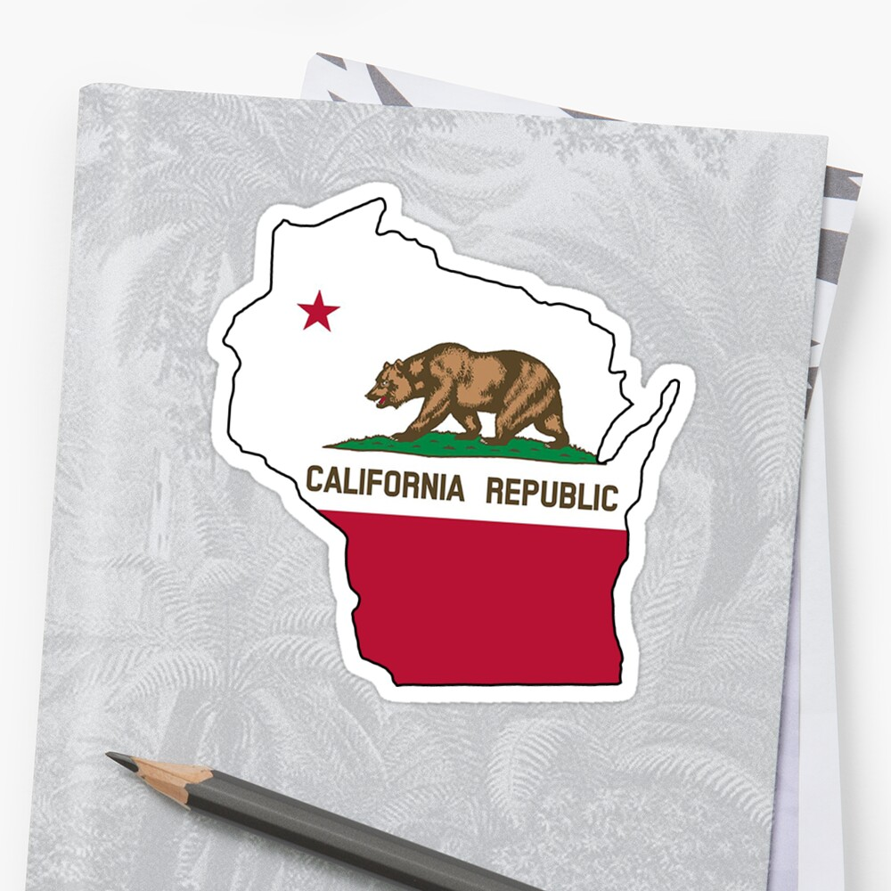 California Flag Wisconsin Outline By Artisticattitud