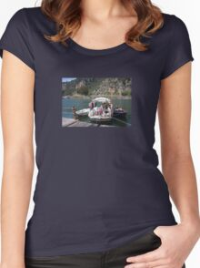 A Turkish Fishing Boat on the Dalyan River Women's Fitted Scoop T-Shirt