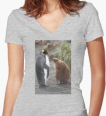 King Penguin and chick ~ Meal Time Women's Fitted V-Neck T-Shirt