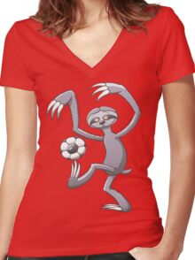 Cool Sloth Playing with a Soccer Ball Women's Fitted V-Neck T-Shirt