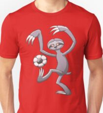 Cool Sloth Playing with a Soccer Ball Slim Fit T-Shirt