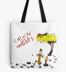 Playing with best friend Calvin and Hobbes Tote Bag