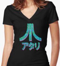 Vaporwave Atari Women's Fitted V-Neck T-Shirt
