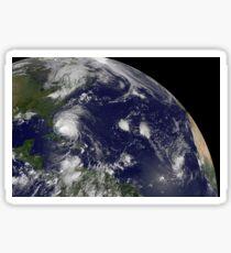 Satellite view of Hurricane Irene moving through the Bahamas. Sticker