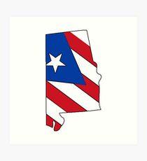 Puerto Rico flag Alabama outline Art Print