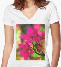Flowers pink rosa orange Women's Fitted V-Neck T-Shirt