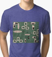 Mid-Century Modern Green Abstract Tri-blend T-Shirt