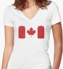 Beer Can-ada Women's Fitted V-Neck T-Shirt