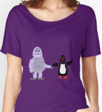 Cool Funny Abominable Snowman and Penguin Love Women's Relaxed Fit T-Shirt