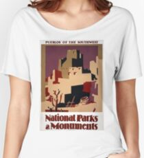 Vintage Pueblo WPA National Parks Travel Poster Women's Relaxed Fit T-Shirt