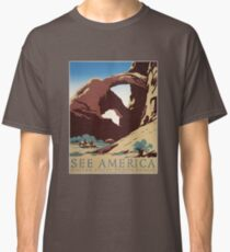 WPA Vintage Travel Poster See America Arches Classic T-Shirt