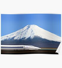 Mount Fuji and the Bullet Train JR 500, Japan Poster