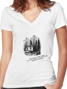 """""""Never Lonely"""" - Thoreau at Walden Women's Fitted V-Neck T-Shirt"""