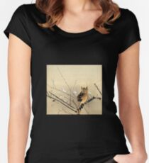 Goun Owl with Early Plum Blossoms Woodblock Print Women's Fitted Scoop T-Shirt