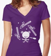 Cute Teddy Juggling 2 Balls, 3 Chainsaws and Club Women's Fitted V-Neck T-Shirt