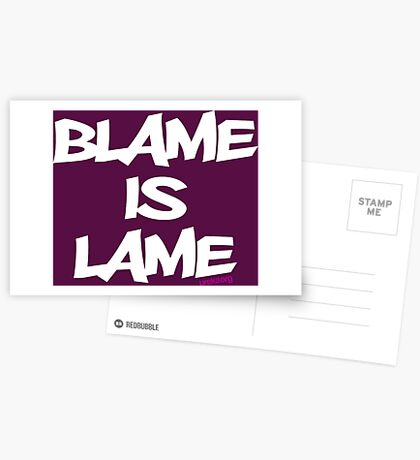BLAME IS LAME! (white) Greeting Card