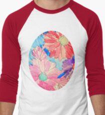 Rainbow Watercolor Flowers Baseball ¾ Sleeve T-Shirt