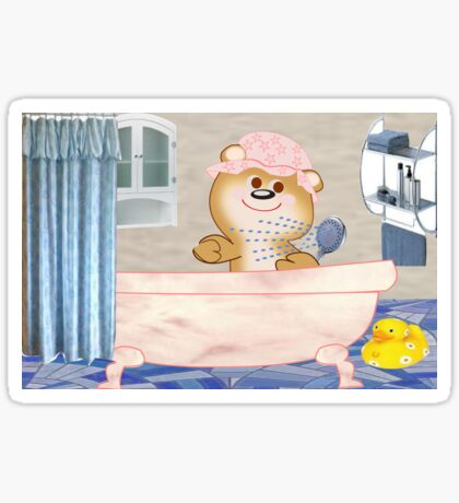 Teddy in the bath tub (6488 Views) Sticker