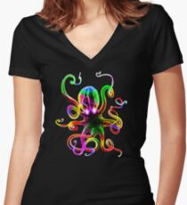 Rainbow Octopus Glow Women's Fitted V-Neck T-Shirt