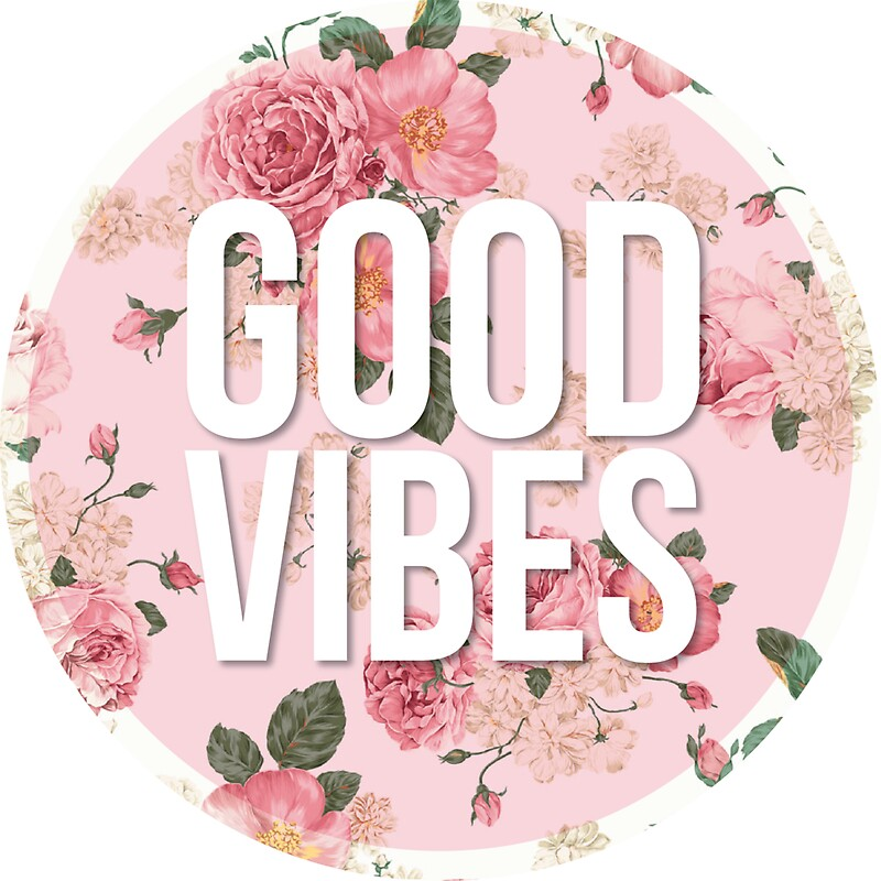 "Good Vibes Quotes: ""GOOD VIBES Floral Quote Sticker"" Stickers By Amandaspac"