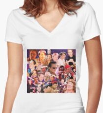 Steve Buscemi Galaxy Collage Women's Fitted V-Neck T-Shirt