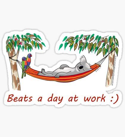 Hammock Sleeping Koala - Beats a day at work Sticker