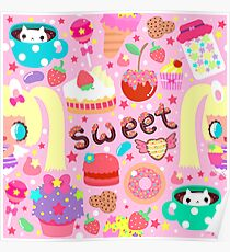 Cute pattern with sweets and kawaii little girl Poster