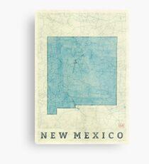 New Mexiko State Karte blau Vintage Metallbild