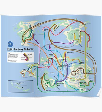 Final Fantasy Subway - NES Maps Series Poster