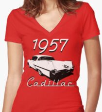 1957 Cadillac Women's Fitted V-Neck T-Shirt