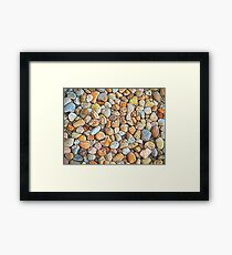 Abstract Shapes Mostly Neutral with Splashes of Color Framed Print