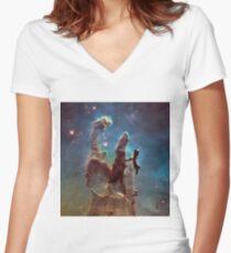 Pillars of Creation Eagle Nebula Messier 16 M16 NGC 6611 Women's Fitted V-Neck T-Shirt