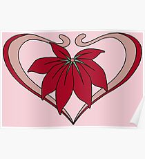 Love, heart with flower, pink red Poster