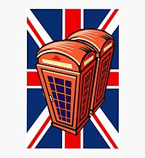 UK flag and english phone box Photographic Print