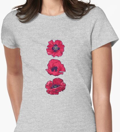 Poppies - August Birth Flower Womens Fitted T-Shirt
