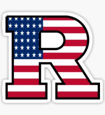 Rutgers Logo American Flag Sticker