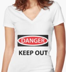 Danger Keep Out Women's Fitted V-Neck T-Shirt