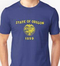 Blue and Gold Flag of Oregon with Shield T-Shirt