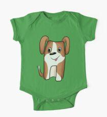 White-brown Puppy One Piece - Short Sleeve
