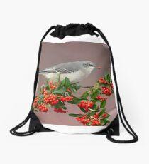 Northern Mockingbird and berries Drawstring Bag