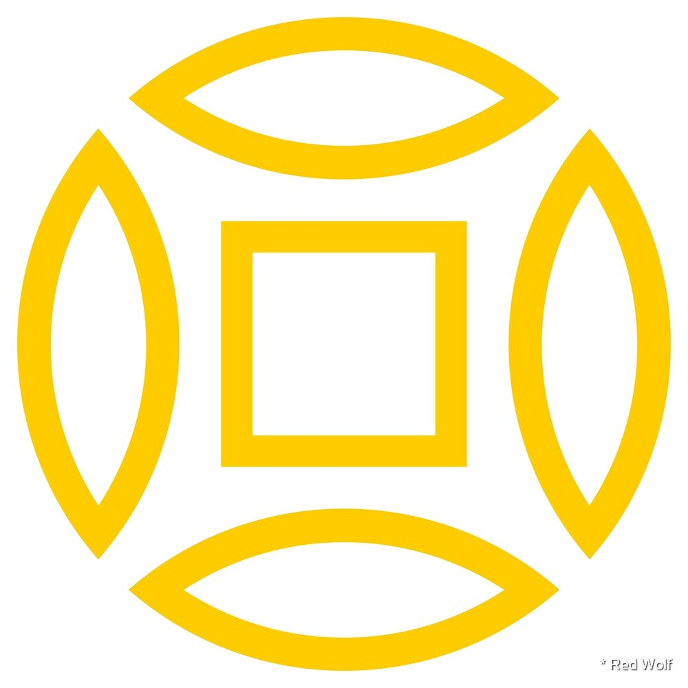 Geometric Pattern: Intersect Outline: White/Yellow by * Red Wolf