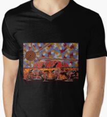 Uluru | Ayers Rock - Authentic Aboriginal Arts Men's V-Neck T-Shirt