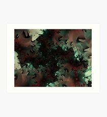 Red Green Snowflake Abstract Design Art Print