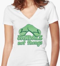 JANDALS not thongs with funny New Zealand  Women's Fitted V-Neck T-Shirt