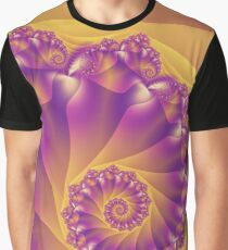 Yellow And Purple Spiral Fractal Graphic T-Shirt