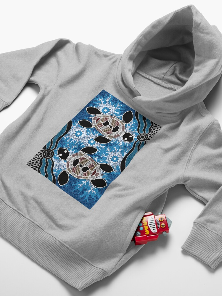 Alternate view of Aboriginal Art Authentic - Sea Turtles Toddler Pullover Hoodie