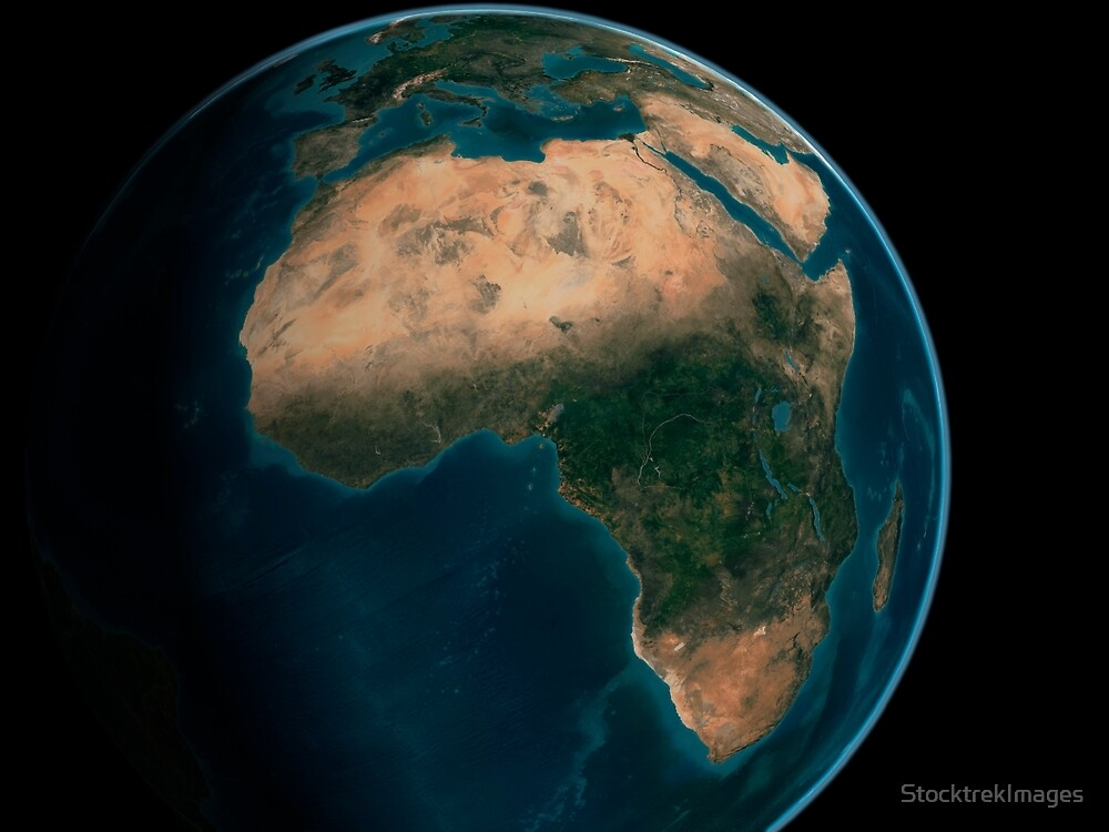 Full Earth from space above the African continent.  by StocktrekImages