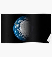 Ful Earth showing simulated clouds over Antarctica. Poster