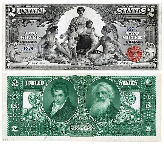 $2 (Two Dollar Bill) Silver Certificate Series of 1896\